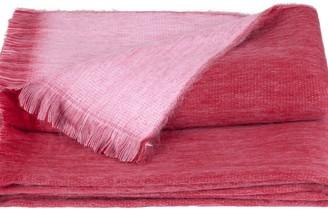 Alpaca Loca Double Plaid Red & Light Pink Alpaca Wool Throw
