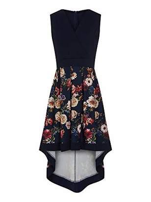 Yumi Women's Flower Bouquet Wrap Front High Low Dress Casual