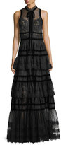 Elie Saab Tiered Lace-Trim Swiss Dot Gown