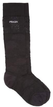 Prada Logo-intarsia Lace Socks - Womens - Black