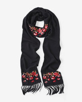 White House Black Market Floral Embroidered Skinny Scarf