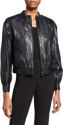 Emporio Armani Diagonal Leather Bomber