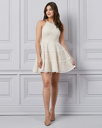 Le Château Laser Cut Knit Halter Cocktail Dress