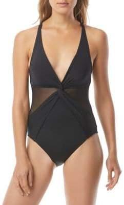MICHAEL Michael Kors Urban Gypsy One-Piece V-Neck Swimsuit