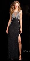 Scala Open Back Damask Beaded Prom Dress