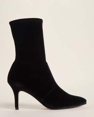 Stuart Weitzman Black Cling Velvet Sock Booties