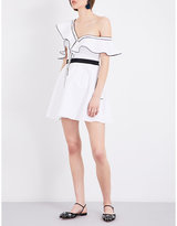 Self-Portrait Asymmetric frilled silk-cotton mini dress