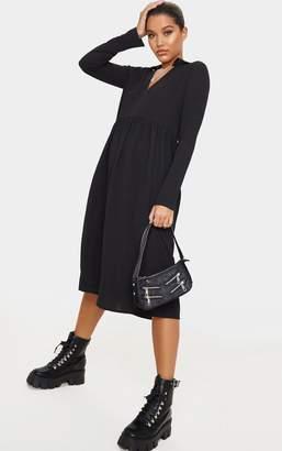 PrettyLittleThing Black Crepe V Neck Frill Midi Dress