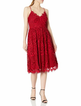Nicole Miller Women's Spaghetti Strap Fit and Flare Dress