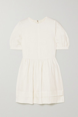 &Daughter Esther Gathered Linen Mini Dress - White