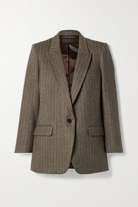 Nili Lotan Diane Herringbone Wool-blend Twill Blazer - Brown