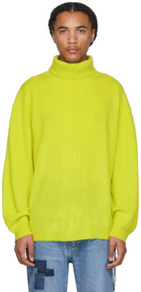 Remi Relief Yellow Cashmere Shaggy Knit Turtleneck
