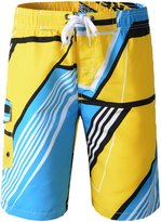 Topda123 Men's Colorful Swim Trunks Boardshorts with Mesh and String (L, )