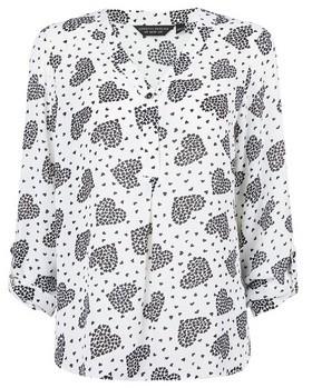 Dorothy Perkins Womens White Heart Print Roll Sleeve Blouse, White