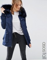 ASOS Tall ASOS TALL Parka With Quilted Lining and Fur Trim