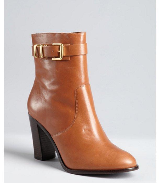 Pour La Victoire cognac leather goldtone buckle 'Francis' ankle boots