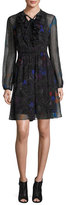 Elie Tahari Desi Tie-Neck Floral Silk Chiffon Dress, Black Multi