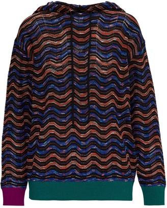 M Missoni Chevron Pattern Hooded Knit Jumper