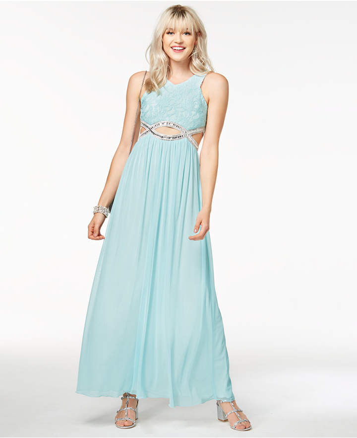 Speechless Juniors' Embellished Infinity-Waist Gown