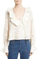 See by Chloe Women's Ruffle Lace Blouse