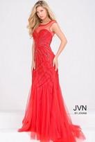Jovani Beaded Sheer Neckline Prom Dress JVN33693