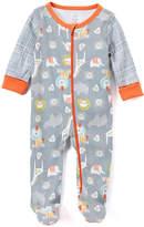 Baby Starters Gray & Orange Safari Animals Footie - Infant
