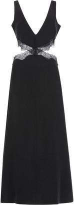 SIR Alma Cutout Lace-Trimmed Silk Maxi Dress