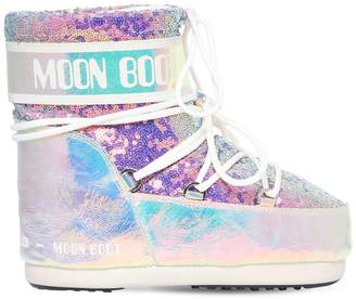 Moon Boot 50MM LEATHER & SEQUINED SNOW BOOTS