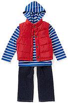 Nautica Little Boys 2T-4T Vest, Striped Long-Sleeve Hoodie, and Denim Jeans Set