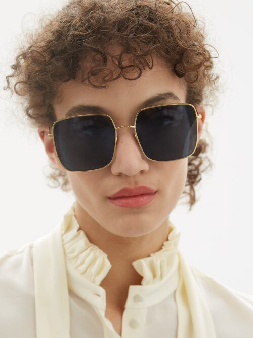 Thumbnail for your product : Christian Dior Diorstellaire Square Metal Sunglasses - Blue Gold
