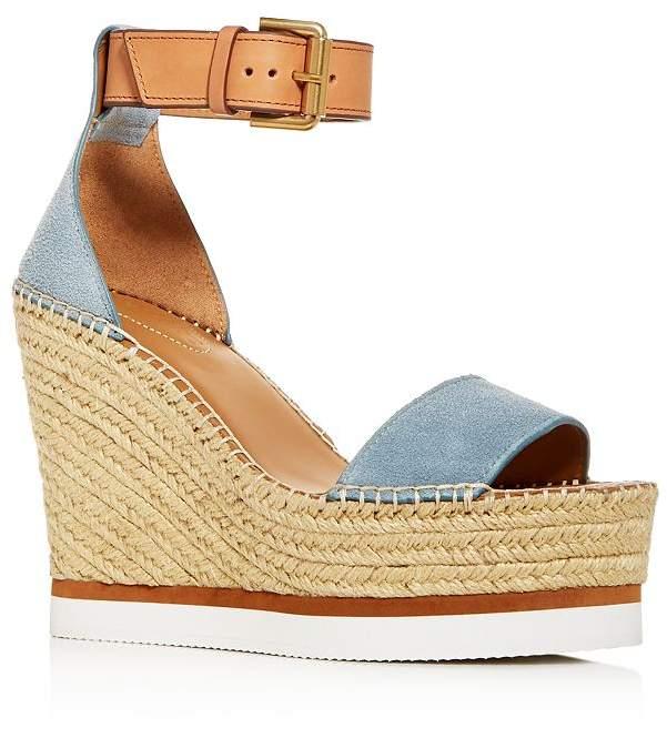 a01ef0f3402 Glyn Leather Espadrille Platform Wedge Ankle Strap Sandals