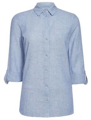 Dorothy Perkins Womens Chambray Linen Shirt, Chambray
