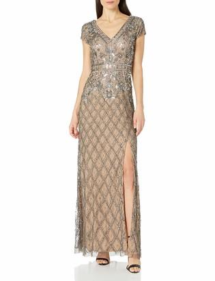 Adrianna Papell Women's V Neck Short Sleeve Beaded Deco Gown