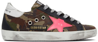 Golden Goose Green and Pink Camo Superstar Sneakers