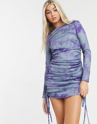 Another Reason long sleeve mini bodycon dress in tie dye