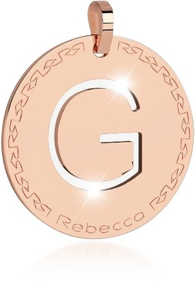 Rebecca Rose Gold-plated Bronze G Charm W/Rhodium-plated Necklace