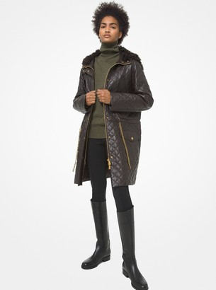 Michael Kors Collection Plonge Leather and Shearling Quilted Parka