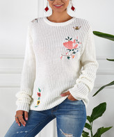 Jiana Women's Pullover Sweaters White - White Embroidered Sweater - Women