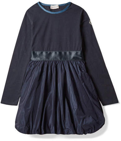 Moncler Ages 8 - 10 Cotton-blend Jersey And Satin-shell Dress