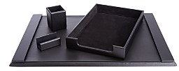 ROYCE New York 4 Pc. Suede Lined Executive Desk Accessory Set