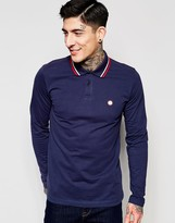 Pretty Green Polo Shirt with Tipping In Long Sleeves Navy