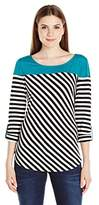 NY Collection Women's Long Roll up to 3/4 Sleeve with Solid Top and Stripe Body