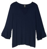 Bobeau Plus Size Women's Double Ruffle Sleeve Top