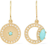 Andrea Fohrman 18-karat Gold, Turquoise And Diamond Earrings - one size