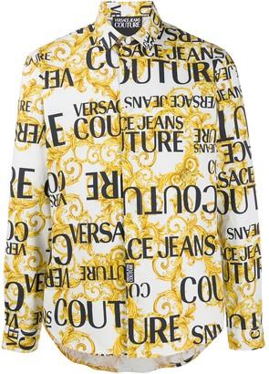 Versace Logo Baroque-print regular-fit shirt