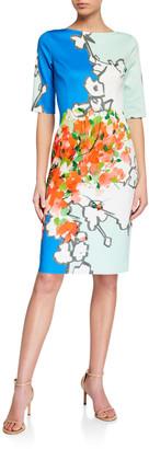Rickie Freeman For Teri Jon Abstract Print Scuba Sheath Dress