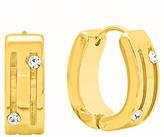Simulated Diamond & Gold Dot Huggie Earrings