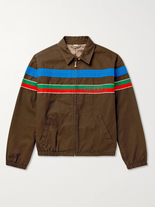 Gucci Webbing-Trimmed Cotton-Twill Bomber Jacket