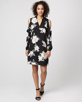 Le Château Floral Cold Shoulder Ruffle Dress