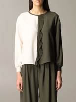 My Twin Bicolor Shirt With Pleated Rouche